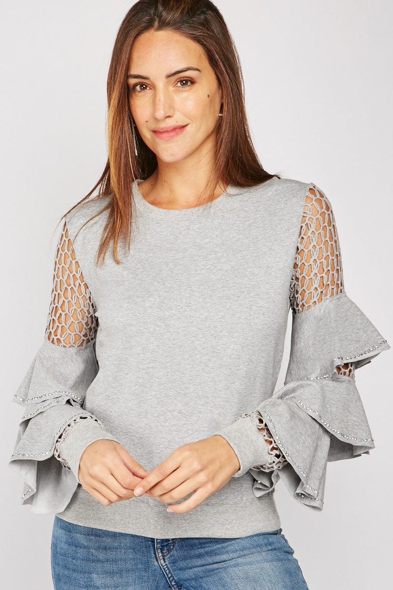 ENCRUSTED TIERED SLEEVE BLOUSE