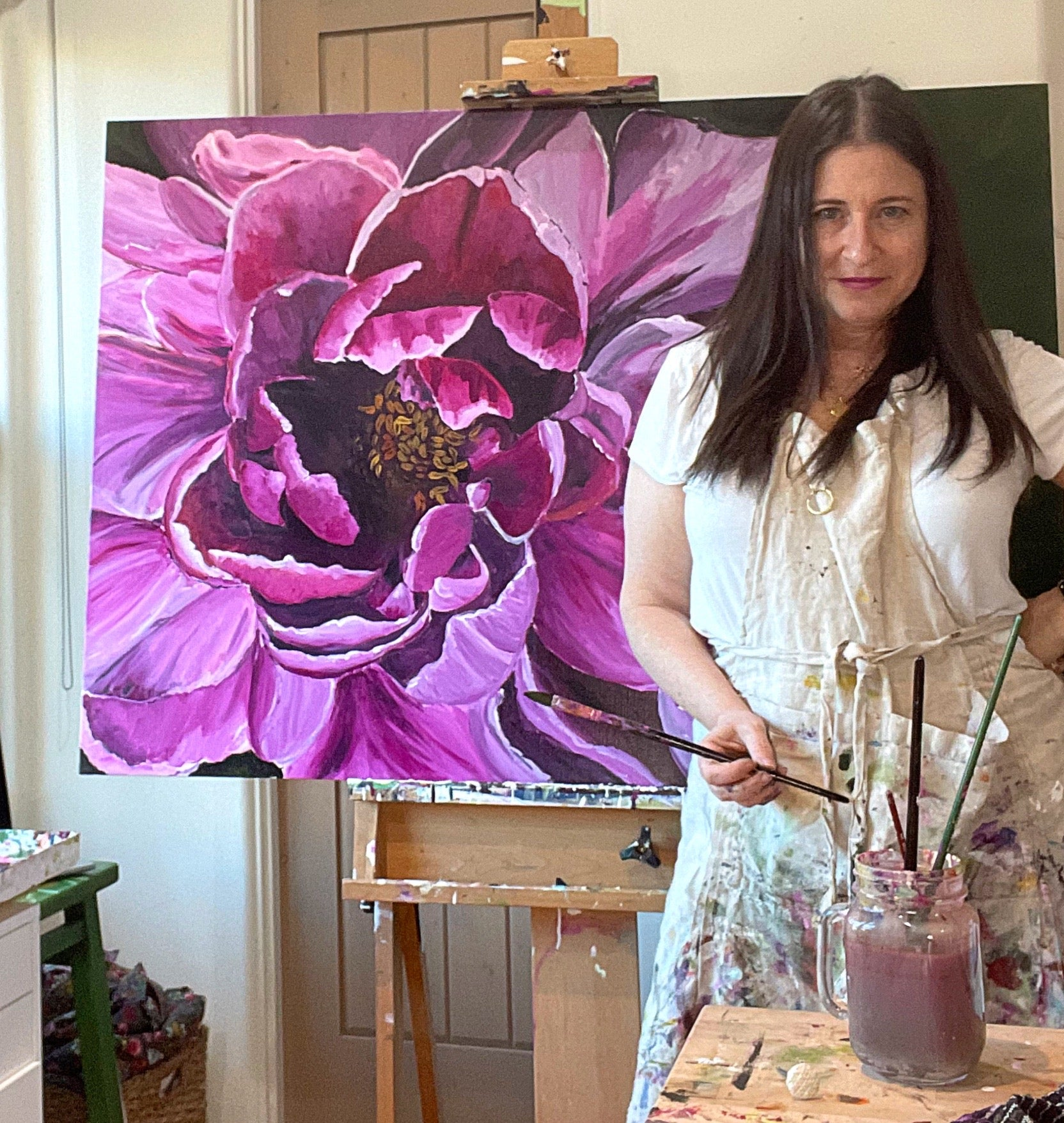 large scale peony painting by Bari J.