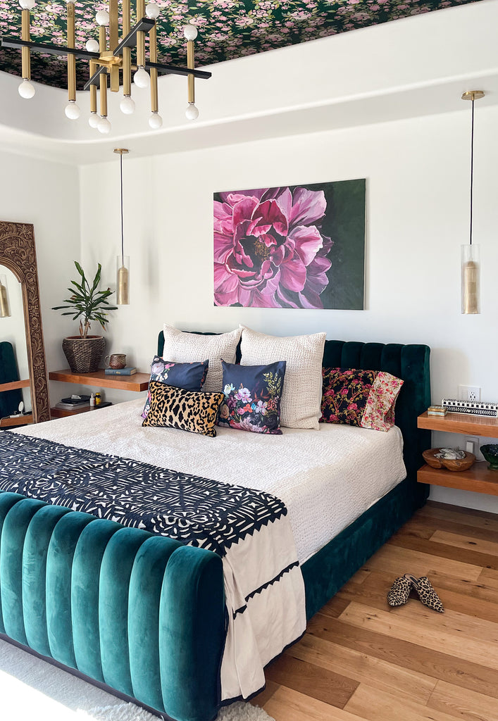 Large scale peony painting in Bari J. bedroom