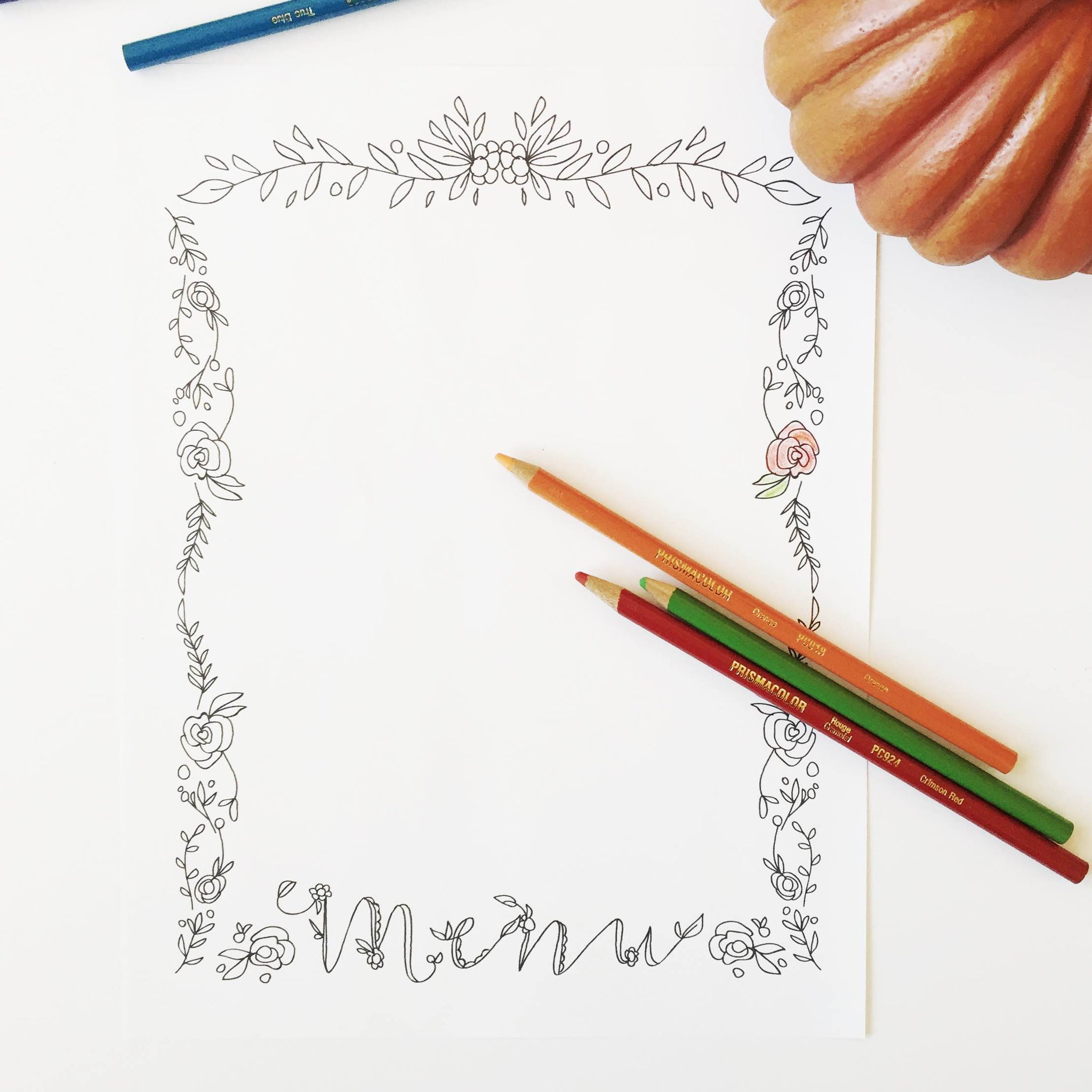 Free Printable Menu Coloring Page by Bari J.