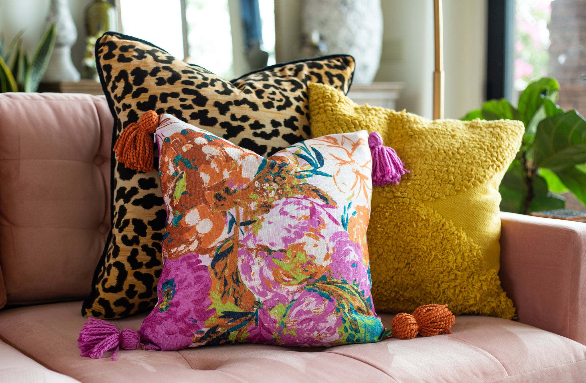 pillow with tassels