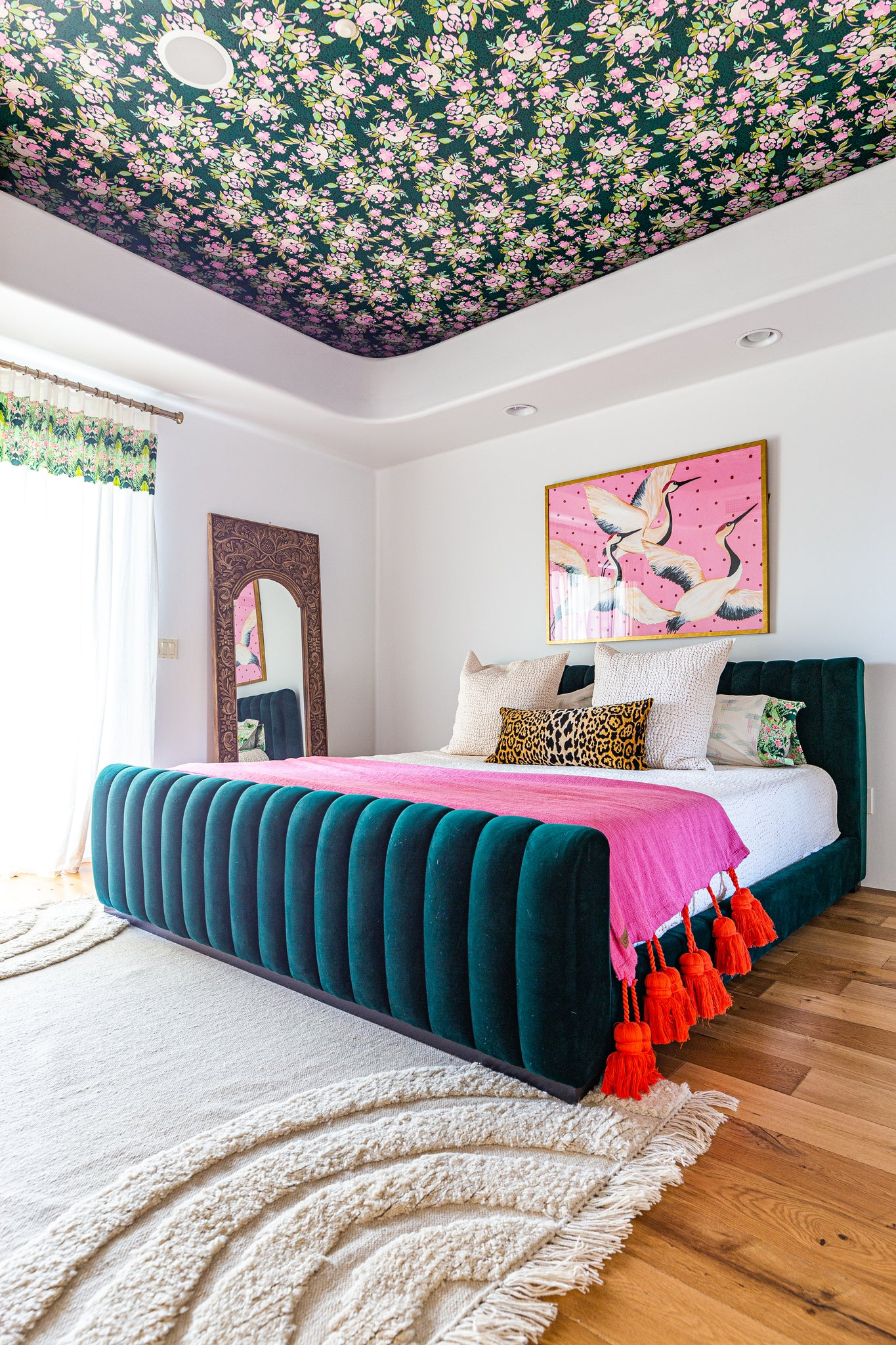Bari J. Master Bedroom Makeover with Wallpapered ceiling