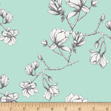 Art Gallery Wild Bloom by Bari J Magnolia Study Fresh Mint Fabric