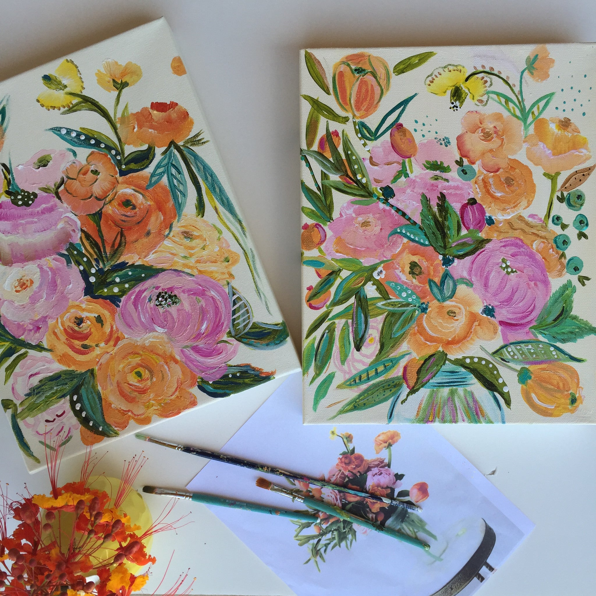 Bari J. Custom Bouquet Paintings