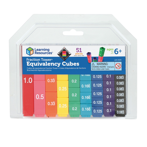 Fraction Tower Equivalency Cubes are interlocking cubes that teach Math's concepts in an exciting new way.  The colour coded cubes make it a lot easier and fun for little ones to learn through play.  Perfect for ages 6 and above