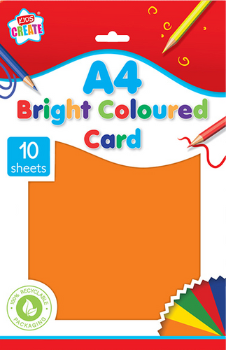 Is your child into arts & crafts? Then he/she will love this 10 pack of A4 bright coloured card, they will be able to create all different kinds of bright coloured art work with this card, that they can cut, draw on and fold into any shape they please, great for using on a rainy day.