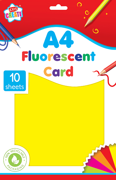 Is your child into arts & crafts? Then he/she will love this 10 pack of A4 fluorescent coloured card, they will be able to create all different kinds of fluorescent coloured art work with this card, that they can cut, draw on and fold into any shape they please, great for using on a rainy day.