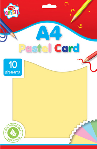 Is your child into arts & crafts? Then he/she will love this 10 pack of A4 pastel coloured card, they will be able to create all different kinds of pastel coloured art work with this card, that they can cut, draw on and fold into any shape they please, great for using on a rainy day.