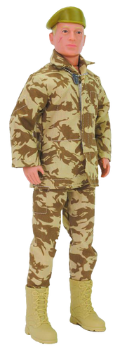 Action Man retro, movable soldier from Hasbro with many distinctive features, such as the scar on his cheek, identification tag/dog tag, military camouflaged uniform, boots and beret.