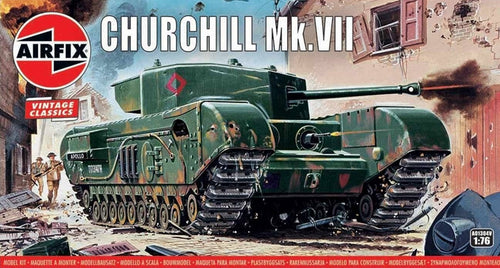 Enjoy the nostalgia of this Airfix Churchill Mk. VII, brought to you by Hornby Hobbies, this vintage classic model kit will create hours of fun.   For those of you interested in the history of the Churchill tank, it was the standard British infantry tank from 1941.  It was not fast but had heavy armor, good firepower and good cross-country performance. The Mk.VII used a 75mm gun and had increased frontal armor. It first saw service in Normandy in 1944.