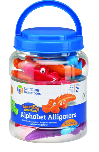 Encourage children to master early learning skills in a snap! Printed alligators are easy for little hands to snap together and pull apart. Colourful alligator heads and tails are printed with uppercase and lowercase letters. Children match the head of an alligator with the correct tail to build letter recognition. Includes the whole alphabet.
