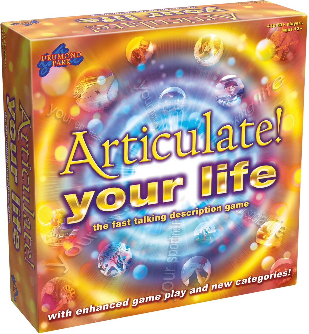 Articulate your life brought to you by Drummond Park, is the exciting, fast paced description game that takes all the fun of the classic Articulate! game and gives it a TWIST.  Articulate you life has new categories, new bonuses and a variable time limit.  Articulate your life will create laughter for all the family, all year round.
