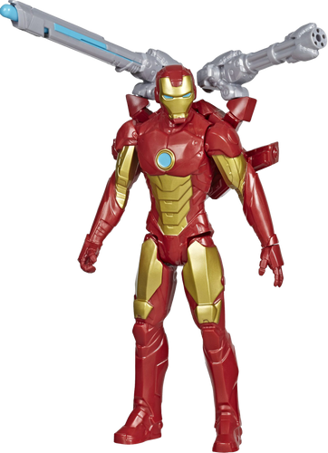 Iron Man figure brought to you by Hasbro, inspired by Marvel Comics, will be igniting children's imaginations with this classic Avengers action hero, when kids connect the Titan Hero Blast Gear launcher to this figure's back port, they can launch projectiles!