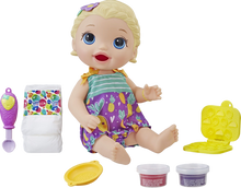 Load image into Gallery viewer, Snackin' Lily is a very cute baby with a big appetite. The reusable baby food can be fed to baby and used again and again, children can also get creative with the snack shaper and make their own snacks for baby Lily.