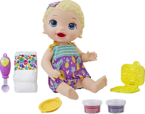 Snackin' Lily is a very cute baby with a big appetite. The reusable baby food can be fed to baby and used again and again, children can also get creative with the snack shaper and make their own snacks for baby Lily.