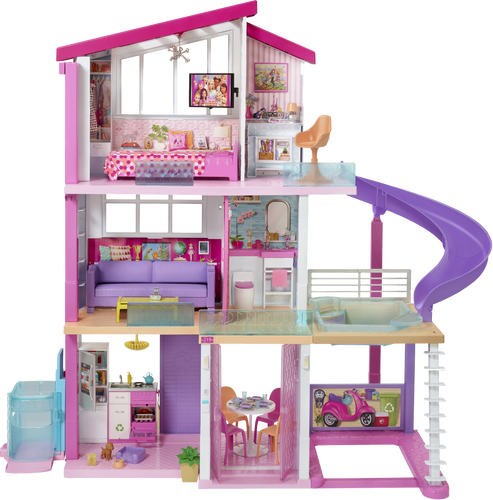 The Barbie Dreamhouse is quite literally every little girls dream! with 3 floors, 8 rooms, fully furnished, with 70 + accessories.  The Dreamhouse has an outdoor area, a rooftop pool with a slide, a working lift big enough for 4 Barbie's.
