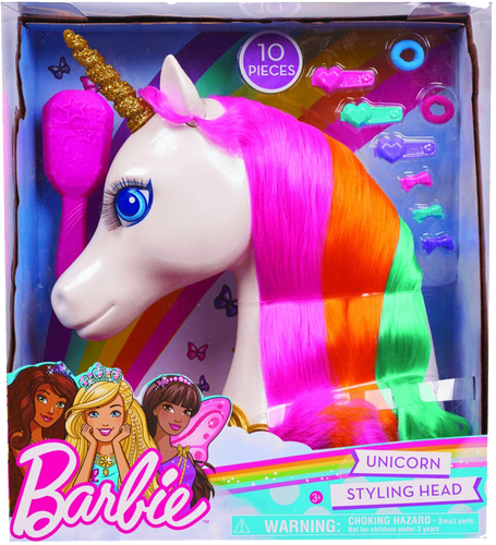 Barbie Dreamtopia Unicorn Styling head is wonderful for little ones who love to play with hair.  Every little girl loves unicorns and this one is simply beautiful with her long lashes and multi-coloured hair.  The Barbie Unicorn styling head can be twisted and tied with the clips and hair bands included in the box and her hair can be made silky smooth with the brush provided.