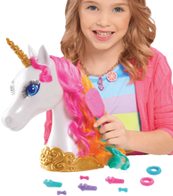 Load image into Gallery viewer, Barbie Dreamtopia Unicorn Styling head is wonderful for little ones who love to play with hair.  Every little girl loves unicorns and this one is simply beautiful with her long lashes and multi-coloured hair.  The Barbie Unicorn styling head can be twisted and tied with the clips and hair bands included in the box and her hair can be made silky smooth with the brush provided.