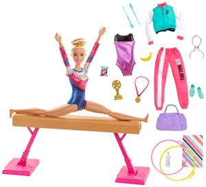 Barbie! You can be ANYTHING! with this set you can be a gymnast! Barbie can tumble, twist and turn with the balance beam and 15 + accessories, pretend you have won the Olympics and win trophies and medals, all included in the Barbie Gymnast set.  Barbie is wearing a colourful metallic leotard and she can do an outfit change with the extra outfits included with the se