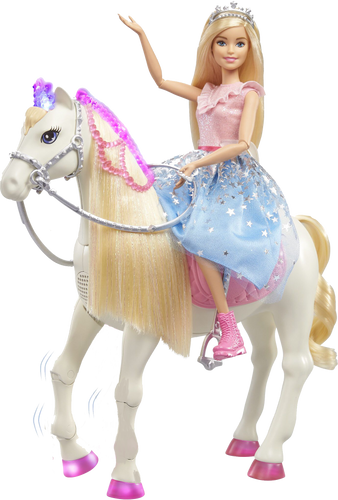 Barbie Princess Adventure with her beautiful prance and shimmer white horse, legs dance and light up to 3 x original songs, imaginations will be sent on a magical adventure, children can pretend they are a real life princess with touch-activated features like sounds, songs and realistic movements.