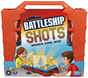 Bounce 'em in to sink and win! The Battleship Shots game presents a ball-tossing twist to Battleship game play. It's head-to-head competition, strategy, and excitement as players get on their feet and bounce or toss their balls over the divider to land them inside their opponent's ships! Players can amp up the suspense when they go for an immediate win by getting the red ball into their opponent's life raft. No ship is safe in this game of stealth and suspense, so position ships strategically to survive an