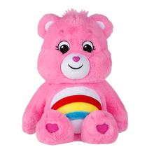 Load image into Gallery viewer, Cheer Bear is a very happy, bright pink care bear who helps others see the bright side of life.  She will sometimes even do a cheer to help make someone happier! Each bear comes with a specail care coin to collect & share! Each coin includes a way to share your care by showing others how much you care out loud! Say! Show it! Share it!