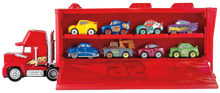 Load image into Gallery viewer, For every child that loves the Disney Pixar movie cars, they will love the Cars Mini Mack Truck Transporter, comes complete with one Lightening McQueen mini car, little ones can pretend to be Mack the truck transporting cars across the freeway, losing themselves in their imagination.