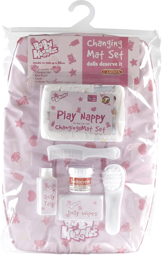 Little girls and boys love to copy what Mummy and Daddy do and this changing mat set is perfect for pretending to be grown ups, children can lay their baby on the mat and change their nappy included in the set, they can even use the pretend products to clean baby with baby huggies wipes, make sure they don't get a sore bottom with the Sudocreme, add a little powder and once finished they can brush their babies hair.  This is a wonderful set for role play.