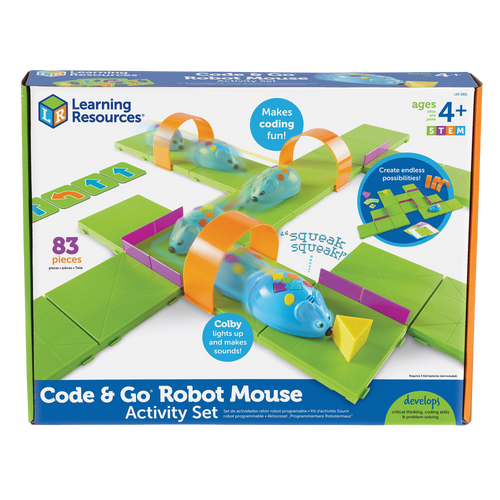 Pick an activity card with one of the challenging mazes, Build your maze, use the coding cards to create a step-by-step path, program the sequence of steps and watch Colby race to find the cheese!