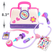 Load image into Gallery viewer, Little one's can have lots of fun pretending to be a doctor with this fun Doc McStuffin Doctor Bag Set, fantastic role play item with a light and sound stethoscope, ID card thermometer and many other items so your little one can make mummy and daddy all better!