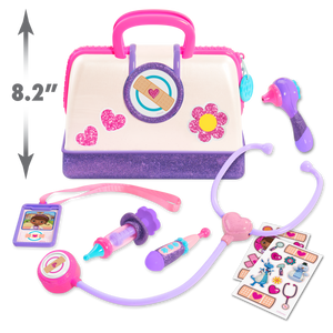 Little one's can have lots of fun pretending to be a doctor with this fun Doc McStuffin Doctor Bag Set, fantastic role play item with a light and sound stethoscope, ID card thermometer and many other items so your little one can make mummy and daddy all better!