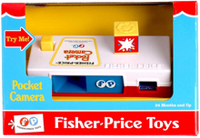 Load image into Gallery viewer, Pocket Camera, first introduced in 1974, the Fisher-Price Camera resembled popular 35mm cameras of the time.  It introduces 27 pictures of a trip to the zoo that you can see by looking trough the view  finder.  Press the cameras button to advance the pictures and make the flash cube turn automatically.