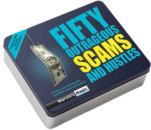 This amazing set includes everything you need to confuse your friends with fifty outrageous scams and hustles!