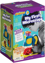 Load image into Gallery viewer, Does your child love science? Explore your world with My First Microscope.  Ignite the spark in every child! There is a light inside all of us that shines brightest when we are playing.  Specimin tray holds flat and 3D objects so your child can investigate all kinds of wonderful objects.
