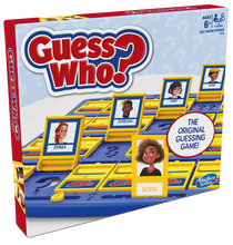 Load image into Gallery viewer, Guess Who? The original guessing game! Guess your opponent's mystery character first to win! Features classic tabletop boards! Ask your opponent question's such as 'Is your person wearing a hat?' if the answer is no then put down all the people that do have a hat on! Ask all the right questions until you are left with the person your opponent has to win the game.