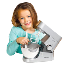 "Load image into Gallery viewer, Little ones love to copy Mummy and Daddy and help out in the kitchen.  Now your child can feel exactly like a grown-up with this fantastic realistic Kenwood Mixer.  They can have some real baking fun with this working Kenwood Mixer, recipe book and spatula.  Let's lift up the arm and insert the ""K"" beater or whisk to combine ingredients for pancakes, omelettes or cakes.  Let's use the hand lever, or one of the 2 battery-operated speeds to mix-up tasty treats in the kitchen, anytime!"