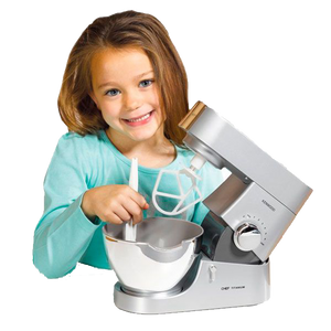 "Little ones love to copy Mummy and Daddy and help out in the kitchen.  Now your child can feel exactly like a grown-up with this fantastic realistic Kenwood Mixer.  They can have some real baking fun with this working Kenwood Mixer, recipe book and spatula.  Let's lift up the arm and insert the ""K"" beater or whisk to combine ingredients for pancakes, omelettes or cakes.  Let's use the hand lever, or one of the 2 battery-operated speeds to mix-up tasty treats in the kitchen, anytime!"
