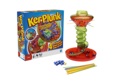 Load image into Gallery viewer, Ker-Plunk is a nerve-racking game of skill! Nail-biting fun that's gone spiralling mad!  Pull out the sticks but don't dislodge the marbles or they'll come whooshing down the chute.  The aim of the game is to finish with the fewest marbles in your tray! There are lots of different ways to play this game, start with Ker-Plunked first, then move onto Golden Ball, Tricksy Trays or Hot Sticks or let your imagination run free, what cool new games can you make up with your friends?