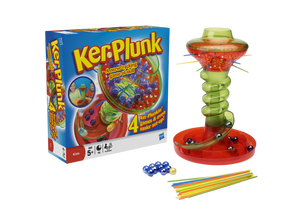Ker-Plunk is a nerve-racking game of skill! Nail-biting fun that's gone spiralling mad!  Pull out the sticks but don't dislodge the marbles or they'll come whooshing down the chute.  The aim of the game is to finish with the fewest marbles in your tray! There are lots of different ways to play this game, start with Ker-Plunked first, then move onto Golden Ball, Tricksy Trays or Hot Sticks or let your imagination run free, what cool new games can you make up with your friends?