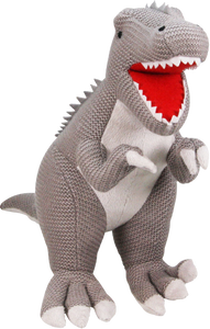 This wonderful knitted T-Rex Dinosaur is a wonderful addition to any little ones bedroom, they can cuddle this loveable creature whilst they sleep or pretend to roar at ther other toys!