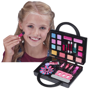 Every little girl loves to watch mummy do her make-up, and if he gets to use some of mummy's make-up then even better, well now your little one can use her own make-up from her very own make-up bag, it's perfect to use as a handbag that your daughter can take with her and pretend to be grown up.  You and your little girl can have a pamper night together doing beautiful sparkly make-up and nails, with over 16 colours for eyes, lips and cheeks.