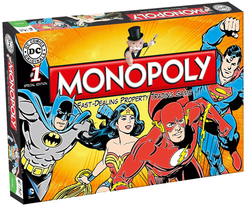 For fans of DC comics, this version of Monopoly is great for you! Tour DC comics for the hottest properties: heroes and villians, planets, planets and companies are all up for grabs.  Invest in the detective agencies and hideouts, then watch the rent come pouring in!  Make deals with other players and look out for bargains at auction, there are many ways to get what you want.