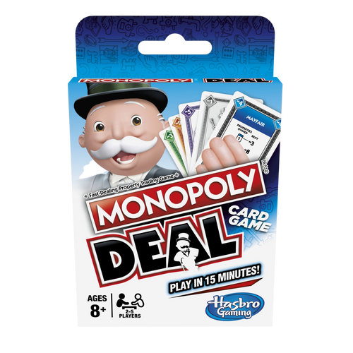 Monopoly is the much loved family board game, that you can now play where ever you go, Monopoly Deal is the fantastic travel game that everyone will love and it's now been made a lot simpler, the object of the game is to collect 3 property sets to win, use action cards to charge rent and make tricky deals.