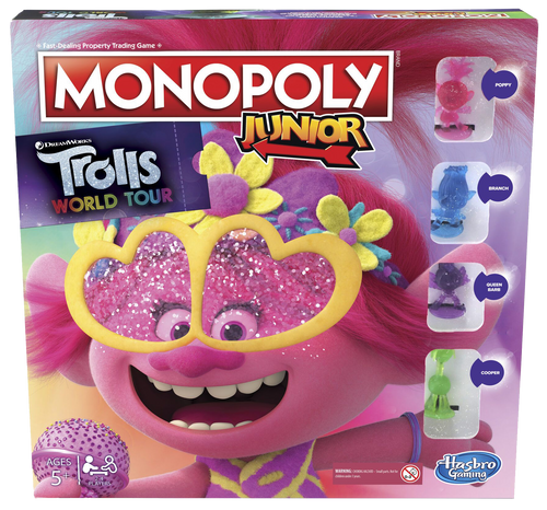 Everybody loves the traditional game of Monopoly, well now your little ones can enjoy it too, with Monopoly Junior the Trolls World Tour Edition.  Your child can play with the much loved characters from the movie, Poppy, Branch, Queen Barb and Cooper, learn to earn with your favourite Trolls, Count and collect the most tiny diamond cash to win!