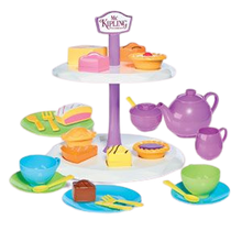 Load image into Gallery viewer, Humpty Dumpty are pleased to be offering the Mr Kipling cake stand with Tea set, this afternoon tea set includes such cakes as fondant fancy, bakewell tart, battenberg, jam tart and apple pie, your little ones can learn through role play by making teatime fun with shape sorting