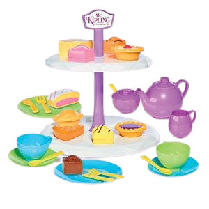 Humpty Dumpty are pleased to be offering the Mr Kipling cake stand with Tea set, this afternoon tea set includes such cakes as fondant fancy, bakewell tart, battenberg, jam tart and apple pie, your little ones can learn through role play by making teatime fun with shape sorting