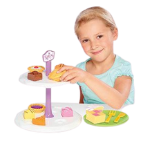 Load image into Gallery viewer, Humpty Dumpty are pleased to be offering the Mr Kipling cake stand with Tea set, this afternoon tea set includes such cakes as fondant fancy, bakewell tart, battenberg, jam tart and apple pie, your little ones can learn through role play by making teatime fun with shape sorting, little girl enjoying playing