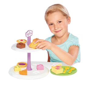 Humpty Dumpty are pleased to be offering the Mr Kipling cake stand with Tea set, this afternoon tea set includes such cakes as fondant fancy, bakewell tart, battenberg, jam tart and apple pie, your little ones can learn through role play by making teatime fun with shape sorting, little girl enjoying playing