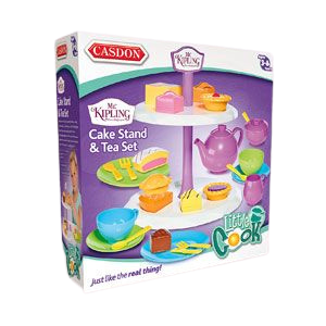 Humpty Dumpty are pleased to be offering the Mr Kipling cake stand with Tea set, this afternoon tea set includes such cakes as fondant fancy, bakewell tart, battenberg, jam tart and apple pie, your little ones can learn through role play by making teatime fun with shape sorting, boxed image