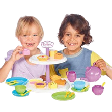 Load image into Gallery viewer, Humpty Dumpty are pleased to be offering the Mr Kipling cake stand with Tea set, this afternoon tea set includes such cakes as fondant fancy, bakewell tart, battenberg, jam tart and apple pie, your little ones can learn through role play by making teatime fun with shape sorting, fun with friends ideal for boys and girls